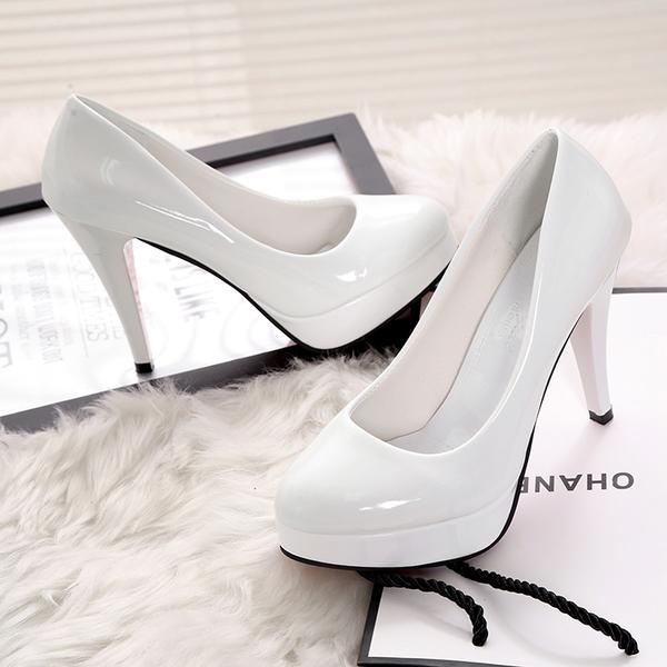 高跟鞋女工作鞋新款防水台細跟漆皮婚鞋性感百搭淺口單鞋10CM大尺碼34-42碼數 【八折搶購】
