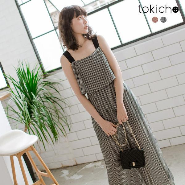 東京著衣-tokichoi-甜蜜可人荷葉造型格紋連身褲-S.M.L(190679)