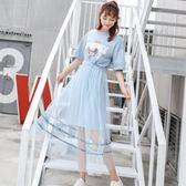 中大尺碼 洋裝兩件套2018新款韓版印花ins超火網紗連衣裙 st1029『伊人雅舍』