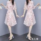 A字洋裝仙女連身裙女夏季2020新款V領韓版中長款顯瘦輕薄大碼碎花a字裙 PA17516『男人範』