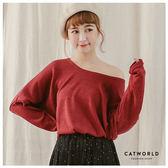 Catworld 正韓空運*大圓領連袖針織上衣【11406565】‧F