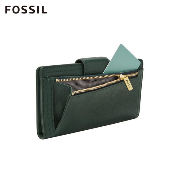 FOSSIL LOGAN 雲杉綠色真皮RFID中長夾 SL7830366