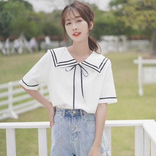 法式短袖襯衫女裝2021新款潮上衣溫柔風韓系海軍領襯衣女夏季薄款