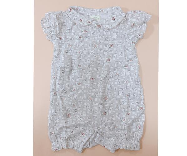日本專櫃童裝頂級好質料拼布花寶寶連身衣/兔裝(70-80碼) 夏季包屁衣 嬰兒服【GC0003】