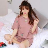 【618好康鉅惠】睡衣女夏短袖純棉兩件套裝夏季韓版寬鬆清新