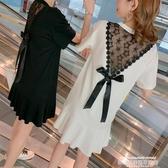 加肥加大碼胖妹妹雪紡拼接網紗連身裙女短袖中長款蕾絲露背T恤裙 萊俐亞