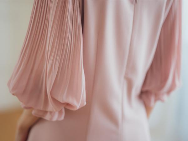 秋冬單一特價[H2O]公主風雪紡壓褶八分袖及膝洋裝 - 粉/淺藍色 #9634003