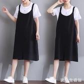 背帶裙 大碼女裝寬鬆減齡洋裝 洋氣顯瘦百搭遮肚棉麻連身裙 zh5296 【歐爸生活館】