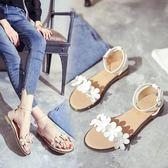 [五折] 沙灘涼鞋女2018夏季露趾花朵休閒羅馬鞋平跟女鞋 全館免運