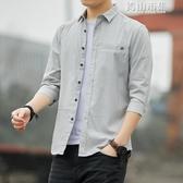 男士七分袖襯衫韓版修身純棉帥氣5分短袖寸衫夏繫7分中袖襯衣潮流 青山小鋪