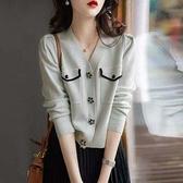 長袖針織衫~花瓣扣裝飾四平空轉羊毛小香針織開衫BF19A莎菲娜