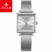 JULIUS 聚利時 典藏記憶復古米蘭錶帶腕錶-時尚銀/24mm【JA-1083A】
