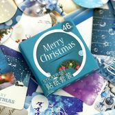 【BlueCat】圓形花圈聖誕快樂盒裝貼紙