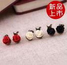 ►耳環 復古玫瑰花不對稱耳釘 耳飾【B1...