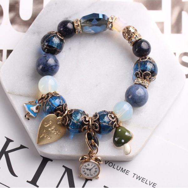 潘朵拉風格愛麗絲夢遊仙境串珠 手鍊 藍色款