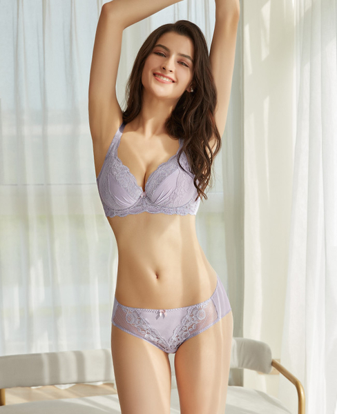 EASY SHOP-魅惑Beauty Bra 大罩杯C-E罩內衣(灰霧紫)