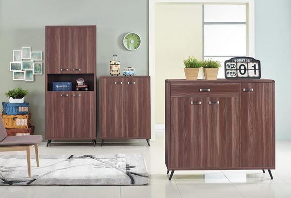 【森可家居】奧斯汀胡桃色4尺鞋櫃 7JX292-8 木紋質感 北歐工業風