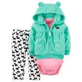 Carter's平行輸入童裝 女寶寶 連帽刷毛外套&短袖包屁衣&長褲 綠狗狗【CA121G767】