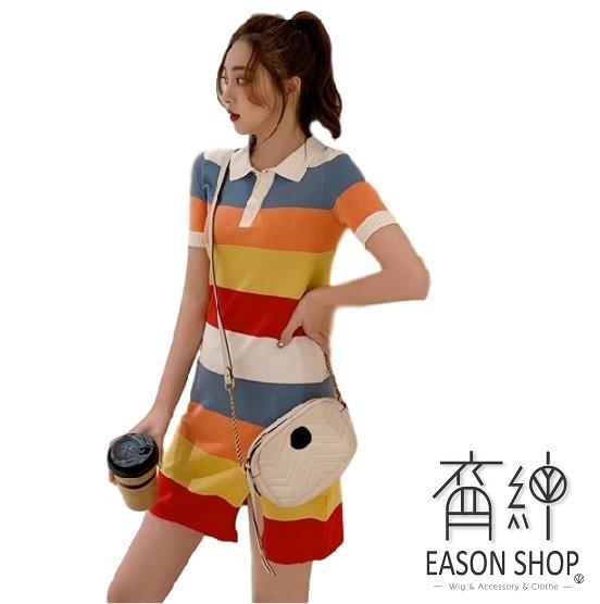 EASON SHOP(GW5563)韓版彩虹條紋下襬側開衩排釦翻領POLO領短袖針織連身裙洋裝女短裙膝上裙一步裙