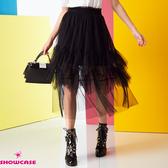 【SHOWCASE】唯美雙層細褶鬆緊腰百搭中長層次紗裙(黑)