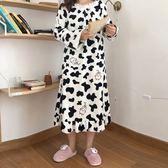 中長款休閒睡衣連身裙XL-5XL【實拍】2019秋冬新款大碼胖mm法蘭絨睡裙R032-6032
