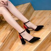 一字扣粗跟涼鞋女夏春夏韓版新款包頭涼鞋女高跟鞋中空單鞋子 蘑菇街小屋