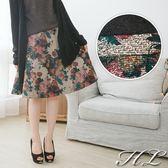 ‧HL超大尺碼‧【14061013】高貴優雅玫瑰花仿皮革質感及膝裙 1色