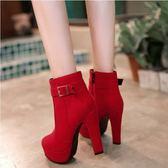 馬丁靴     韓版高跟厚底女鞋 款絨面黑色短靴及裸靴 紅色馬丁靴女靴婚靴    瑪麗蘇