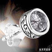男士耳釘 黑色發晶耳釘圓形日韓單只潮男耳丁耳飾泰銀飾品 BT5852『寶貝兒童裝』