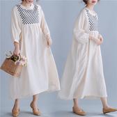 洋裝 連身裙 棉麻洋裝女2020初秋新款寬鬆大碼文藝範亞麻刺繡高腰大擺長裙子