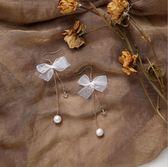 手作 少女系列 薄紗 蝴蝶結 耳環 絲帶 棉花 珍珠 長款 仙 耳墜 耳夾426