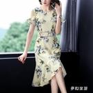 40歲女連身裙媽媽2020新夏款旗袍式新式改良版復古裙高腰裙子潮 FX4875 【夢幻家居】