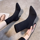 女鞋靴子2021秋冬新款百搭短靴尖頭細跟高跟馬丁靴針織彈力靴襪靴  【端午節特惠】