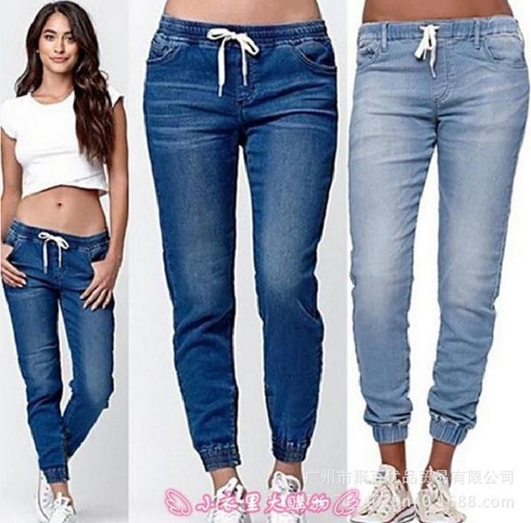 牛仔長褲 women jogging pants jeans plus size 新款大碼女牛仔褲慢跑褲 - 小衣里大購物