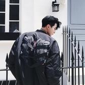 夾克外套-棒球領韓版時尚後背印花夾棉男外套2色73qa42【時尚巴黎】