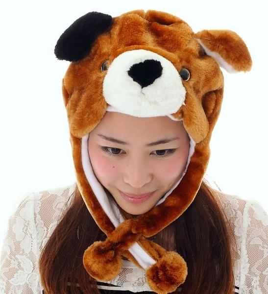 愛動物帽黃狗頭套 兒童大人成人造型帽 萬聖節聖誕節  角色扮演服裝