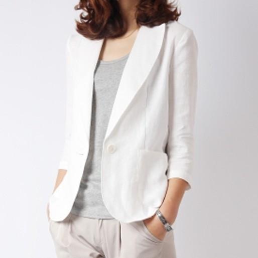 小西裝女 西裝外套 棉麻外套 韓版短款修身棉麻百搭中袖休閒亞麻抖音同款薄款西服外套