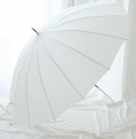 燙金長柄傘 日式復古16骨強抗風纖維直骨純色小白傘晴雨傘女  聖誕節免運