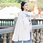漢服女裝配飾淡雅菊花刺繡白色連毛帽短斗蓬秋冬日常款洋裝 週年慶降價