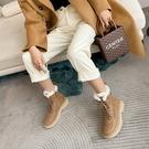 純手工真皮女鞋34-40 2020英倫風帥氣百搭頭層牛皮圓頭中跟厚底雪靴 馬丁靴 短靴子 ~2色
