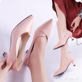 小清新高跟鞋少女公主百搭5cm貓跟鞋單鞋網紅抖音超細跟【免運快出】