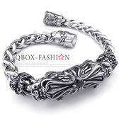 《 QBOX 》FASHION 飾品【B10023961】精緻個性雙獅頭十字架黑鋯石鑄造鈦鋼手鍊/手環