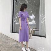洋裝洋裝 氣質冷淡風T恤裙學生繫帶收腰紫色中長款洋裝女 情人節限時優惠