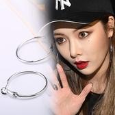 s925純銀圓圈耳環時尚耳圈韓國氣質簡約百搭大耳環圈圈耳扣防過敏 -享家
