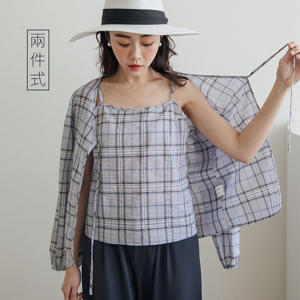 現貨-MIUSTAR 兩件式!細肩格子背心+綁結棉麻外套(共2色)【NJ0367】