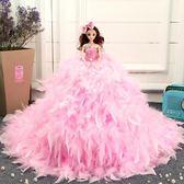 芭比娃娃芭比比娃娃婚紗大裙拖尾豪華羽毛公主裙生日新年禮物女孩公主七夕情人