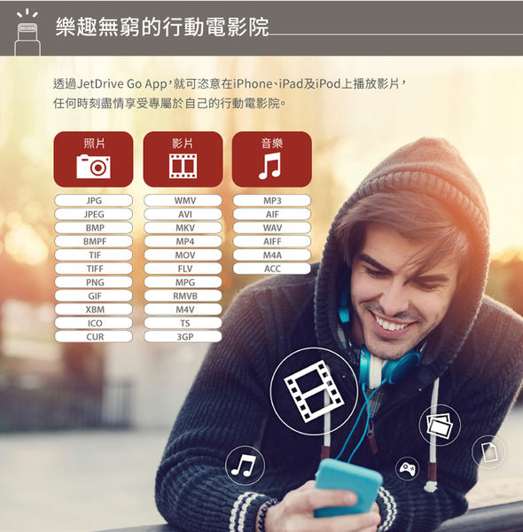 ★免運費★創見 JetDrive Go 300 128GB iOS OTG 128G USB3.1(黑色)X1★For Apple iOS 專用隨身碟★