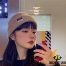 貼布針織帽女冬休閒百搭情侶毛線帽冷帽【創世紀生活館】