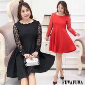 (現貨+預購 FUWAFUWA)--加大尺碼花瓣領蕾絲長袖洋裝小禮服