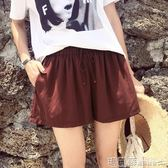 褲裙 韓版銅氨絲短褲女夏鬆緊高腰闊腿寬鬆運動休閒褲熱褲裙褲 瑪麗蘇
